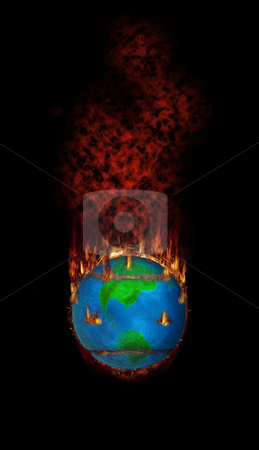 Burning Fleecy Tennisball Globe stock photo, Tennis - The hottest topic on earth? by Reinhart Eo