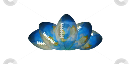 Football Crown stock photo, Detailed Football Earth globes as a symmetrical symbol by Reinhart Eo