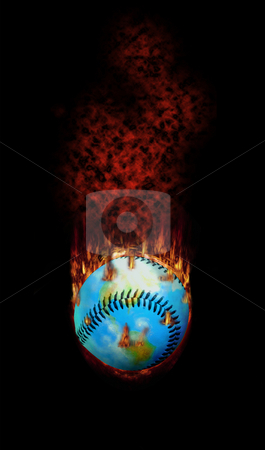 Baseball - A Hot topic for the World stock photo, Detailed. This burning baseball globe was hit too hard - it flies with fire, fume and flames... by Reinhart Eo