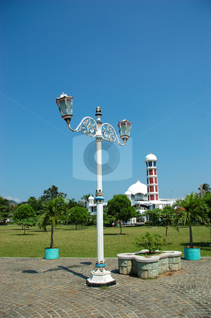 Masjid and town light stock photo, Small masjid with decorative art town light by Bayu Harsa