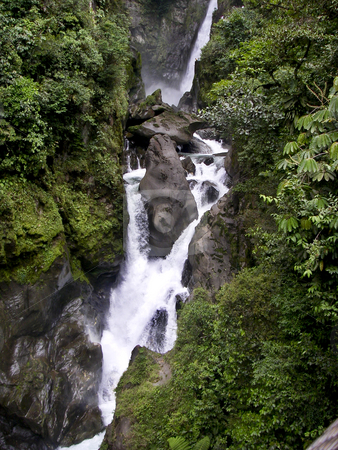 Waterfall in the Ecuador stock photo, A three stepped waterfall in the cloud forest of Ecuador, South America by Sharron Schiefelbein