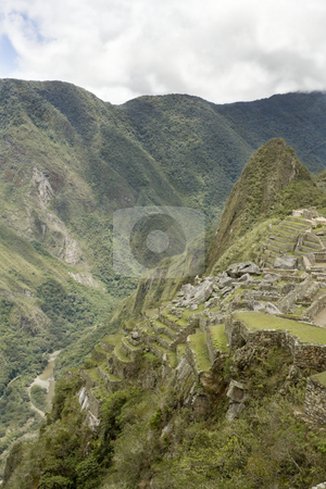 Machu Picchu steep view stock photo, Machu Picchu steep view by Sharron Schiefelbein