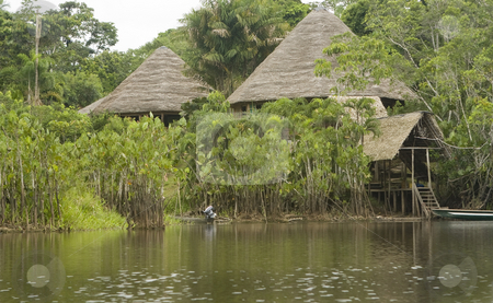 Lodge in the Ecuadorian Amazon stock photo, Lodge in the Ecuadorian Amazon by Sharron Schiefelbein