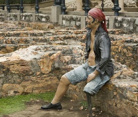 Statue of a Pirate stock photo, The Barrio las Pe by Sharron Schiefelbein