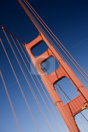 Golden Tower II LH stock photo, Close up of one of the towers of the Golden Gate bridge by Darren Pattterson