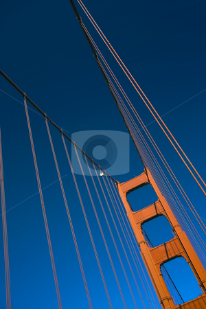 Golden Tower and Cable stock photo, Close up of one of the towers of the Golden Gate bridge by Darren Pattterson
