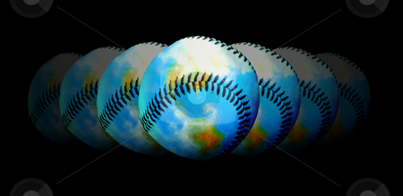Baseball - The Central Topic Of The World stock photo, Seven baseballs with different transparency by Reinhart Eo