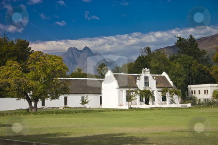 Stellenbosch stock photo, White colonial building in Stellenbosh, South Africa by Darren Pattterson