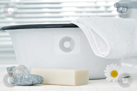 Wash bowl stock photo, Retro wash bowl in a modern bathroom by Carmen Steiner