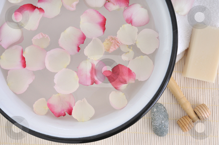 Spa moments soft pink stock photo, Retro wash basin with pink rose petals by Carmen Steiner