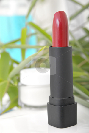 Beauty and Wellness stock photo, Lipstick and cream container in front of bamboo leafs by Carmen Steiner