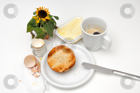Scanty Breakfast stock photo, Small scanty breatkast with bread, egg and coffee by Carmen Steiner
