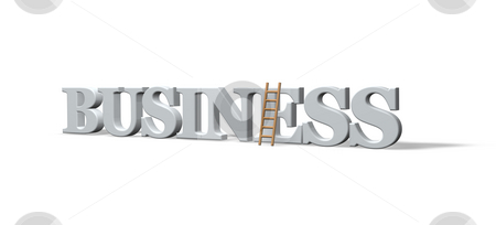 Business stock photo, The word business and a ladder - 3d illustration by J?