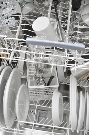 Dishwasher stock photo, Vwie into a dishwasher with cleanly kitchenware by Carmen Steiner