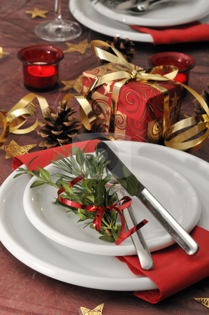 Christmas dinner stock photo, Festive inductee christmas table by Carmen Steiner