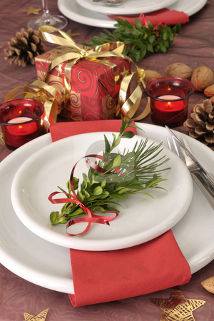 Christmas dinning stock photo, Christmas dinning table by Carmen Steiner
