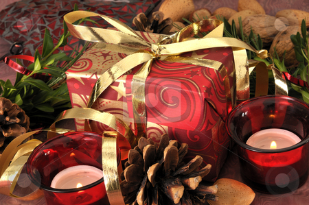 Xmas stock photo, Christmas gift on a festive table by Carmen Steiner