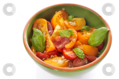 Colorful tomato salad stock photo, Colorful tomato salad in a bowl by Carmen Steiner