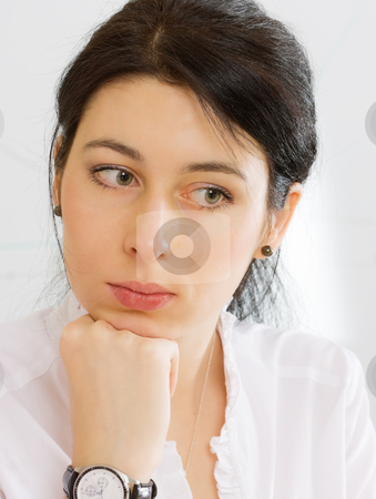 Pensive girl stock photo, Portrait of a pretty brunnette girl by Mikhail Lavrenov