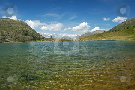 Alpine lake scenery stock photo, Alpine lake scenery (Simplon Pass, Switzerland) by ALESSANDRO TERMIGNONE