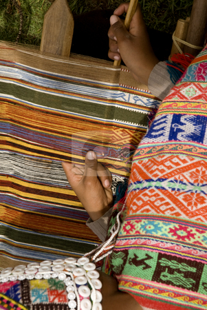 Woman weaving a rug in Peru stock photo, Woman weaving a rug in Peru by Sharron Schiefelbein