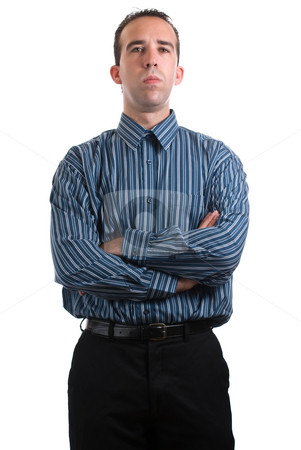 Stern Employee stock photo, A stern looking employee is standing with his arms crossed, isolated against a white background by Richard Nelson
