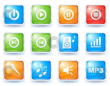 Music buttons collection stock vector clipart, Music buttons collection by Laurent Renault