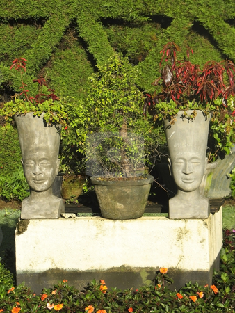 Pot heads in sri lanka stock photo, A pair of pot heads in gardens in sri lanka by Mike Smith