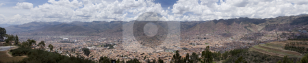 City of Cuzco Peru Panoramic stock photo, City of Cuzco Peru Panoramic by Sharron Schiefelbein