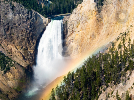 Rainbow, Lower Falls, Yellowstone stock photo, Right on time, the summer morning rainbow appears in the mist of the Yellowstone River's Lower Falls. by Kenneth Keifer