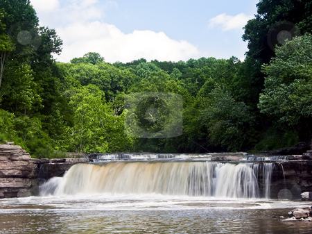 Lower Cataract Falls, Indiana stock photo, Lower Cataract Falls, together with the Upper Falls, constitutes Indiana's largest waterfall (by water volume). Here the broad falls are photographed with sliky smooth motion on a nice summer day. by Kenneth Keifer