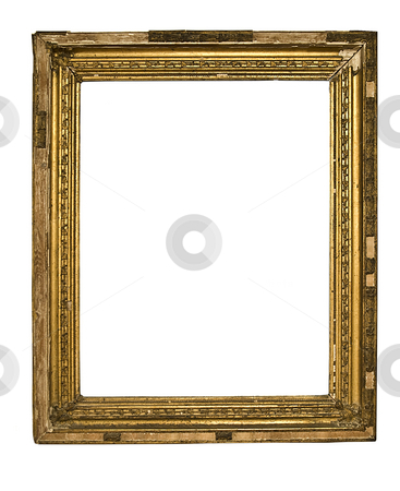 Old Frame stock photo, Gold Frame on White Background by Adam Radosavljevic