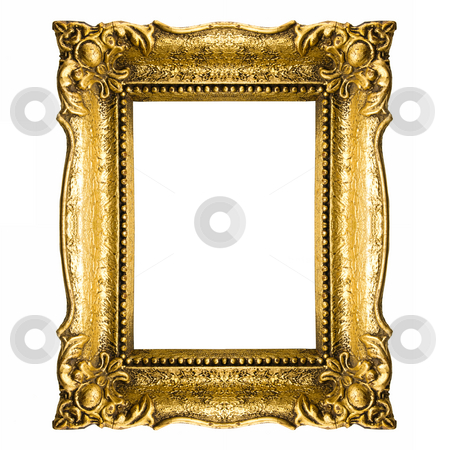 Gold Frame stock photo, Old Gold Frame Isolated On White Background by