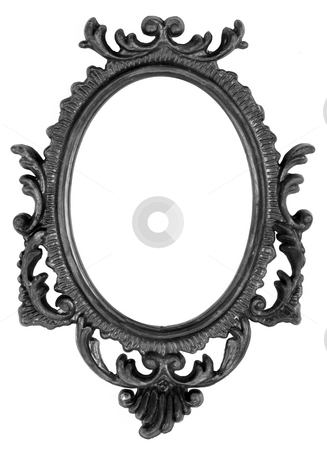 Retro Revival Old Ellipse Black Frame stock photo, Old Ovall Picture Frame on white background by Adam Radosavljevic