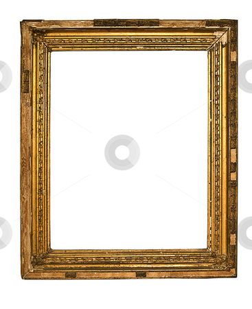 Very Old Frame stock photo, Gold Frame on White Background by Adam Radosavljevic