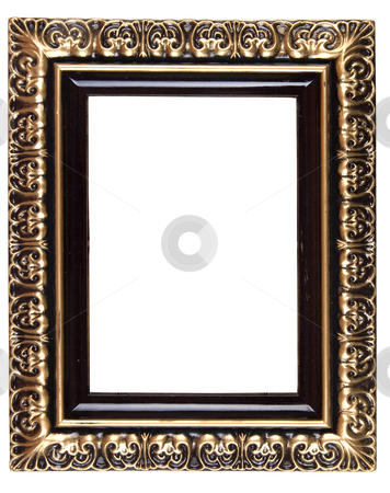 Retro Revival Old Gold Frame stock photo, Old Gold Picture Frame on white background by Adam Radosavljevic