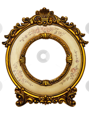 Old Gold Frame stock photo, Old Gold Picture Frame on white background by Adam Radosavljevic