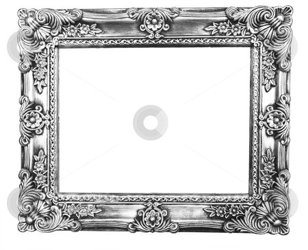 Retro Revival Old Silver Frame stock photo, Old Silver Picture Frame on white background by Adam Radosavljevic