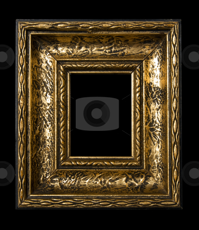 Retro Revival Old Frame stock photo, Old Gold Picture Frame on black background by Adam Radosavljevic