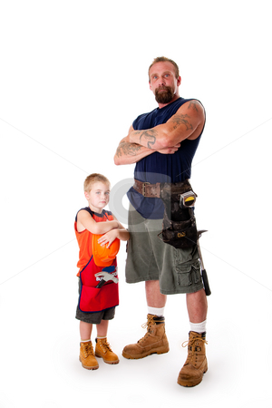 Father and son ready for construction stock photo, Caucasian middle aged father and cute young son ready to do a construction job. Man and boy wearing tool belt with hammer, shorts and boots, standing with arms crossed. Isolated. by Paul Hakimata