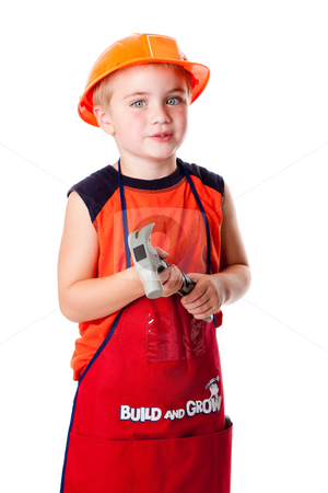 Cute boy with hammer stock photo, Little Caucasian boy dressed in orrange with construction helmet and apron with pockets, holding a hammer, isolated. by Paul Hakimata