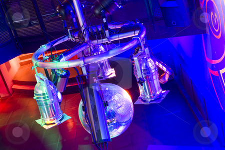 Nightclub strobes stock photo, The strobes, spots, lasers and other lighting equipemnt in a trendy nightclub by Corepics VOF