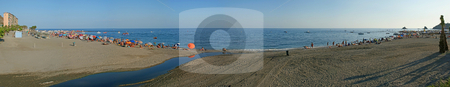 Busy beach panorama stock photo, Large beach scene by Darren Booth