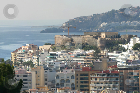 Castle Zoom stock photo, A large panoramic shot showing sea, rock, mountains, a castle and a Spanish town.  You can zoom in quite a long way with this image by Darren Booth