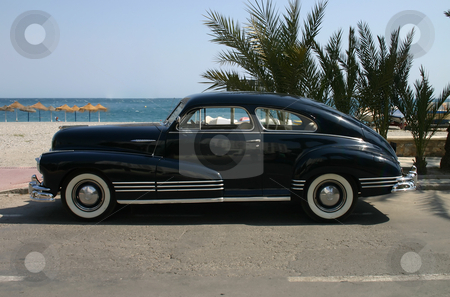 1947 ink blue family car stock photo, 1947 ink blue family car- side profile by Darren Booth