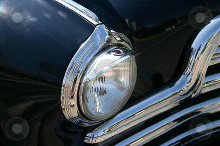 1947 ink blue family car stock photo, 1947 ink blue family car- headlight detail by Darren Booth