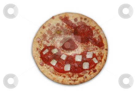 Pirate Pizza stock photo, A pizza with the toppings arranged to make a pirate face.  Isolated on white with a clipping path by Darren Booth