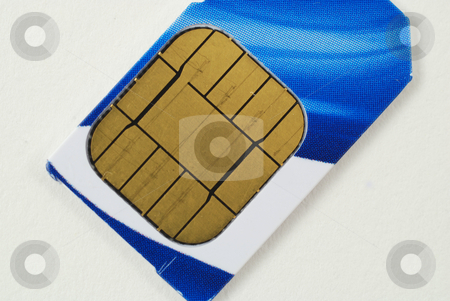 SIM cards stock photo, Pictures of SIM cards used in cell phones by Albert Lozano