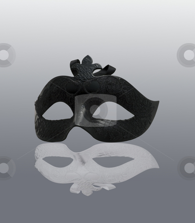 Mask stock photo, Black Mask with white reflection, over gray background by Fabio Alcini