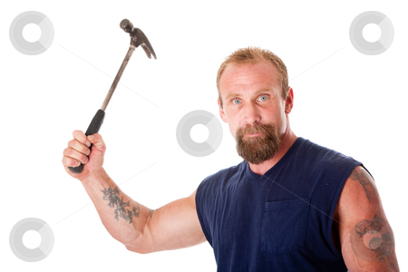 Man with hammer stock photo, Face of a trong man with hammer in hand, isolated. by Paul Hakimata